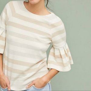 Anthro MAEVE Striped Bell Sleeve Sweater Size S